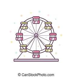ferris, wektor, illustration., wheel.