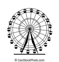ferris, wektor, sylwetka, wheel., illustration., barwny, atraktsion