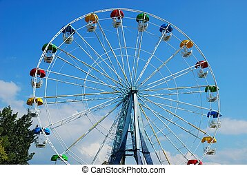 Ferris Wheel against a bleu sky