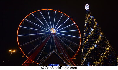 Ferris Wheel Amusement Park Time Lapse, Christmas, Kharkov, Ukraine