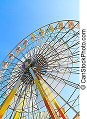 Ferris wheel and blue sky  - Ferris wheel and blue sky