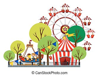 Ferris wheel and children on the ride