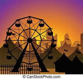 Ferris wheel and circus silhouette