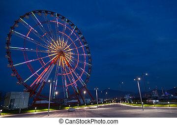 Ferris wheel and night park
