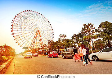 Ferris wheel and the crowd - Evening, ferris wheel,...