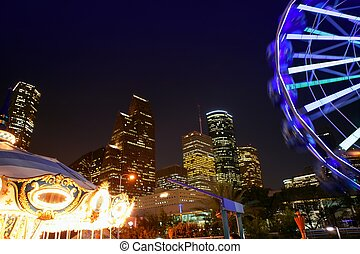 Ferris wheel at the fair night lights in Houston