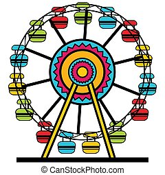 Ferris Wheel Cartoon Icon - An image of a colorful ferris...