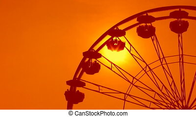 Ferris wheel detail. Dreamy orange