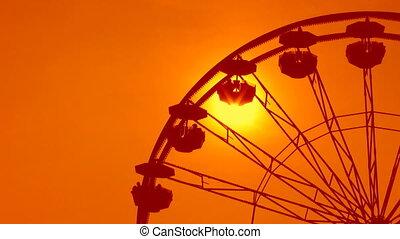 Ferris wheel detail. Dreamy orange