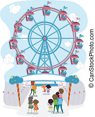 Ferris Wheel - Illustration of a Family Going to Ride in a...