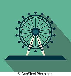 Ferris wheel flat vector long shadow design