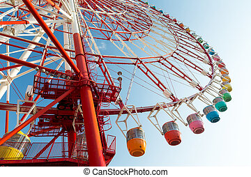 Ferris wheel from low angle