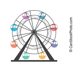 Ferris wheel icon. Carnival. Funfair Carousel. Amusement park
