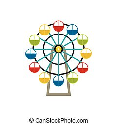 Ferris wheel icon in flat style isolated on white background
