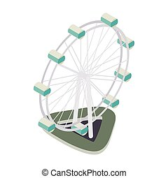 Ferris wheel icon, isometric 3d style - Ferris wheel icon in...