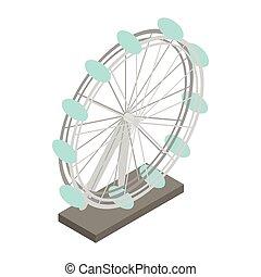 Ferris wheel icon, isometric 3d style