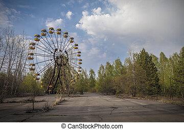 Ferris wheel in amusement park in Pripyat - The abandoned...