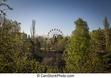 Ferris wheel in amusement park in Pripyat - The abandoned...