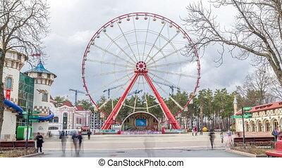 Gorky Central Park of Culture and Leisure in Kharkov timelapse hyperlapse, Ukraine