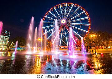 KHARKIV, UKRAINE - AUGUST 13: new Ferris wheel in Gorky Park on August 13, 2013 in Kharkiv, Ukraine.