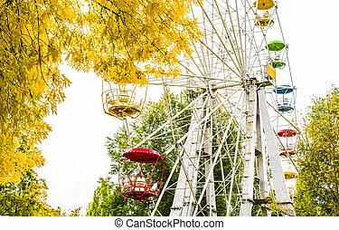 Ferris wheel in the autumn park. Autumn city.