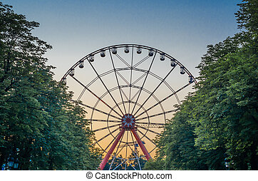 ferris wheel in the park against the blue sky behind trees