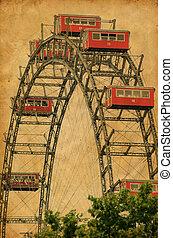 Ferris Wheel in Vienna Austria - Vintage photograph