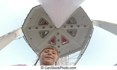 Ferris wheel inside with child