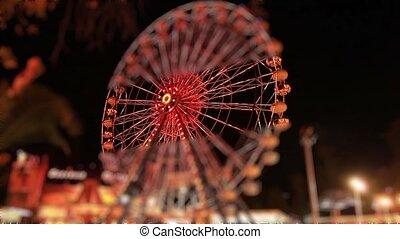 Ferris Wheel - miniature effect Ferris wheel at amusement...