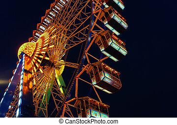 Ferris Wheel on Night Christmas Market at Town Hall Berlin -...