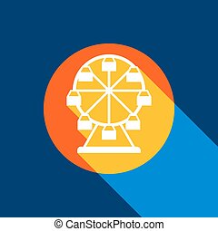 Ferris wheel sign. Vector. White icon on tangelo circle with infinite shadow of light at cool black background. Selective yellow and bright navy blue are produced.