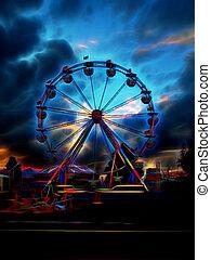ferris wheel at night depiction
