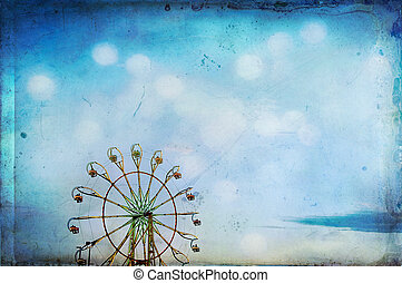 Ferris wheel with added texture for a dreamy feel in the blue sky