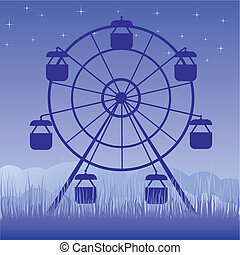 Ferris wheel vector illustration. Amusement park cartoon.