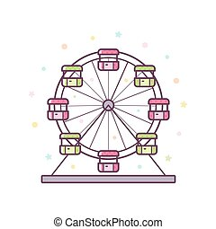 Ferris wheel. Vector illustration.