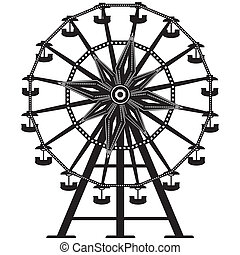 Ferris wheel vector silhouette - Detailed illustration of a ...