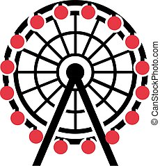 Ferris wheel with red gondola