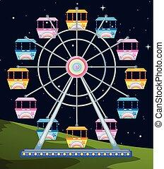 ferriswheel spinning a night illustration