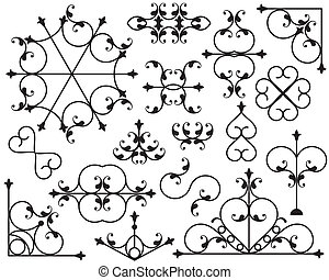 ferro battuto, angolo, bordo, disegni elementi