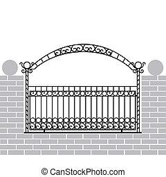 ferro, recinto, con, arco