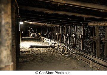 ferro, telhado, apoios, em, mina carvão