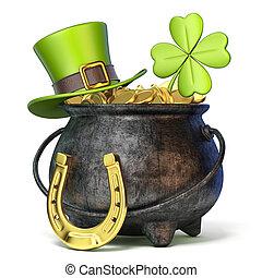 ferro, vaso, pieno, di, dorato, monete, verde, st. giorno patrick, cappello, trifoglio, e, ferro cavallo, 3d