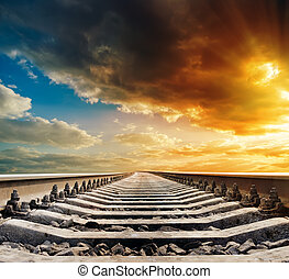 ferrocarril, a, horizonte, debajo, ocaso