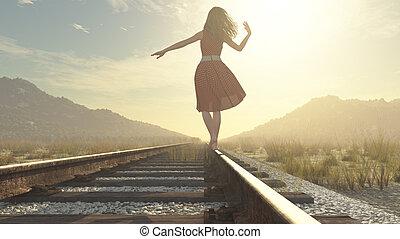 ferrocarril, ambulante, niña
