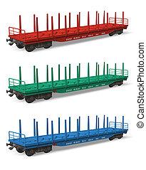 ferrocarril, conjunto, flatcars
