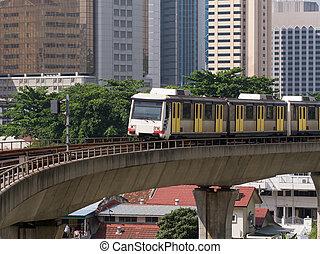 ferrocarril de vía estrecha, tren, en, kuala lumpur, malasia