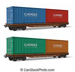 ferrocarril, flatcars, con, contenedores