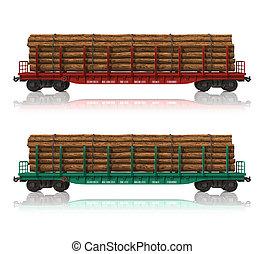 ferrocarril, flatcars, con, madera