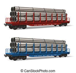 ferrocarril, flatcars, con, tubos