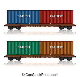 ferrocarril, flatcars, contenedores